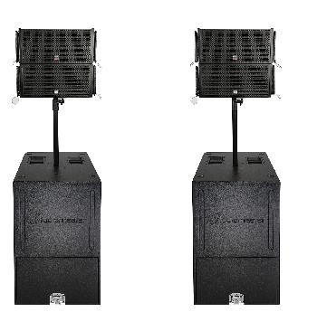Sistema Line Array Activo integrado, compacto y portable, de alta potencia y gran calidad de audio con Procesador de Sonido incorporado.