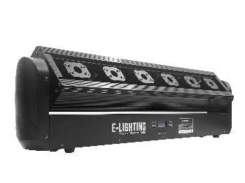Barras Láser con 6 emisores RGB de muy alta potencia y movimientos veloces independientes de cada cabeza logrado un asombroso efecto de barrido/cortina de haces lumínicos.