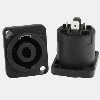 Conectores SPEAKON macho para chasis con traba metálica de alta calidad.