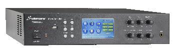 Amplificadores programables multi-zona con pantalla táctil, mezclador incorporado y transformador de línea para instalaciones comerciales y música funcional.