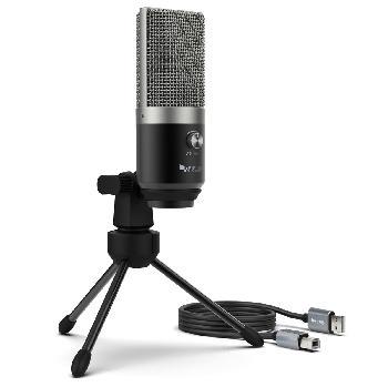 Micrófonos Condensadores USB con gran diafragma, control de volumen, salida de auriculares para monitoreo en vivo y conexión directa con PC/Laptop y PS4.
