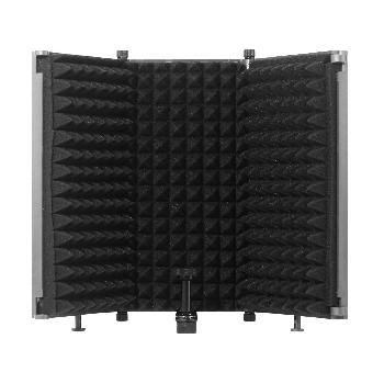 Pantallas portátiles de aislamiento acústico para micrófonos de 3 lados.