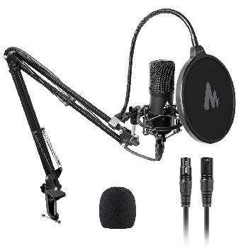 Micrófonos condensadores con diafragma de 16mm y conexión XLR para consolas de sonido profesionales.