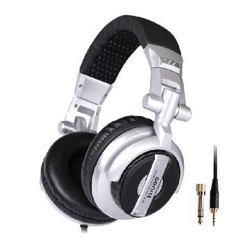 Auriculares profesionales SENICC diseñados especialmente para DJs con orejeras rotables y plegables con un exquisito aspecto plateado y negro.