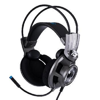Auriculares Gaming Profesionales diseñados especialmente para largas sesiones de juego, con sonido virtual 7.1 envolvente, unidad de vibración incorporada con tecnología SVE de ultra-bajos, cascos ventilados para evitar el calor y atractivo diseño con luz led azul.