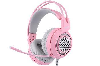 Auriculares Gaming Profesionales con un exquisito y atractivo diseño en color rosa, sonido estéreo envolvente de alta calidad y compatibilidad con múltiples dispositivos.