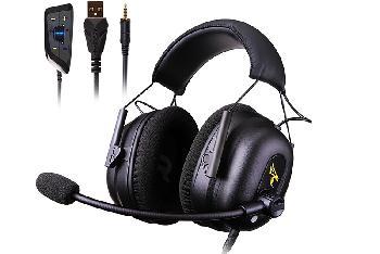 Auriculares Gaming Profesionales COMMANDER con sonido digital surround 7.1 virtual multi-canal, 3 modos de efectos de sonido y altavoces de 50mm de muy alta calidad.
