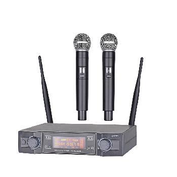 Micrófonos Inalámbricos Doble Mano UHF Profesionales de Múltiples Frecuencias, con Display Digital LCD y salida balanceada.